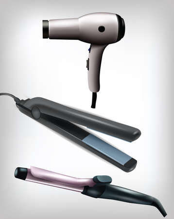 Collection of realistic flat iron, curling iron and hair dryer . Clip-art, Illustration.