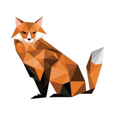Illustration for Illustration of origami fox isolated on white background - Royalty Free Image
