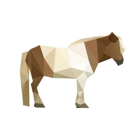 Illustration of geometric polygonal pony
