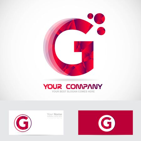 Vector company logo icon element template alphabet letter g red 3d abstract games media it advertising corporate business
