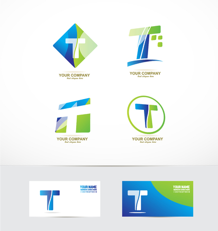 Photo pour company logo icon element template alphabet letter t set - image libre de droit