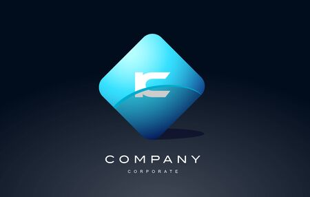 ic alphabet letter blue hexagon 3d combination modern vector logo icon sign design template