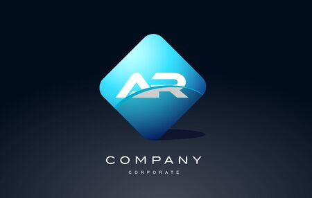 ar alphabet letter blue hexagon 3d combination modern vector logo icon sign design template