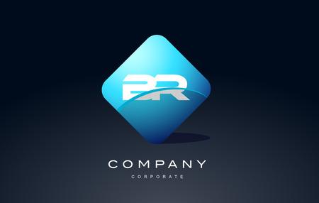 br alphabet letter blue hexagon 3d combination modern vector logo icon sign design template