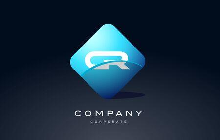 cr alphabet letter blue hexagon 3d combination modern vector logo icon sign design template