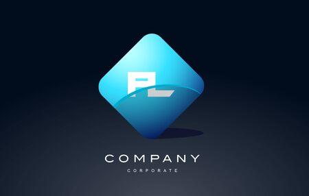 fl alphabet letter blue hexagon 3d combination modern vector logo icon sign design template