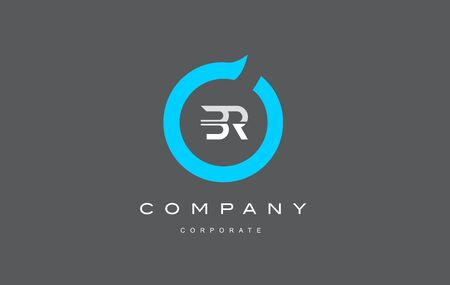 BR letter combination alphabet blue circle vector logo icon sign design template
