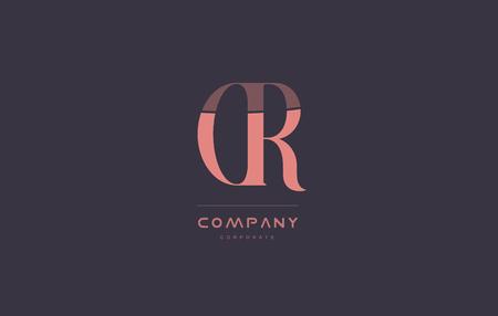 cr c r vintage retro pink alphabet company blue grey letter logo design creative vector icon template