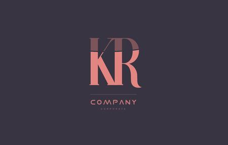 kr k r vintage retro pink alphabet company blue grey letter logo design creative vector icon template