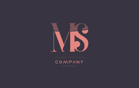 ms m s vintage retro pink alphabet company blue grey letter logo design creative vector icon template