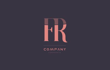 fr f r vintage retro pink alphabet company blue grey letter logo design creative vector icon template