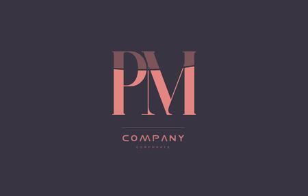 pm p l vintage retro pink alphabet company blue grey letter logo design creative vector icon template