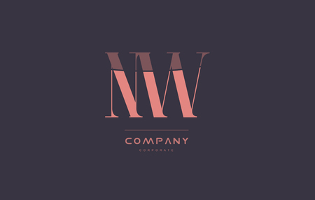 nw n w vintage retro pink alphabet company blue grey letter logo design creative vector icon template