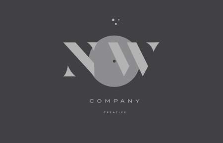 Nw n w  grey modern stylish alphabet dot dots company letter logo design vector icon template