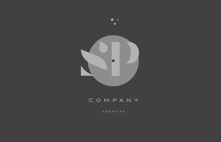 sp s p  grey modern stylish alphabet dot dots eps company letter logo design vector icon template