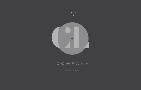 cl c l  grey modern stylish alphabet dot dots eps company letter logo design vector icon template