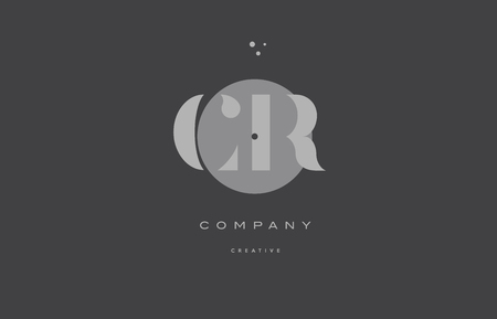cr c r  grey modern stylish alphabet dot dots eps company letter logo design vector icon template