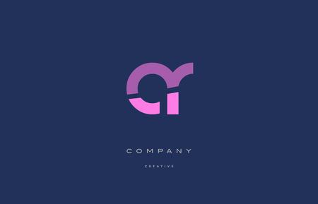 ar a r  pink blue pastel modern abstract alphabet company logo design vector icon template