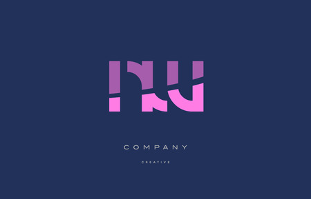 Nw n w  pink blue pastel modern abstract alphabet company logo design vector icon template
