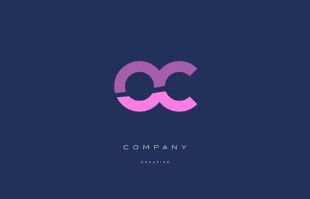 Oc o c  pink blue pastel modern abstract alphabet company logo design vector icon template
