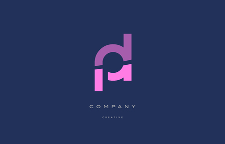 pl p l  pink blue pastel modern abstract alphabet company logo design vector icon template