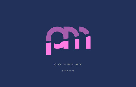 Pm p l  pink blue pastel modern abstract alphabet company logo design vector icon template