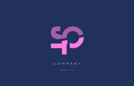 Sp s p  pink blue pastel modern abstract alphabet company logo design vector icon template