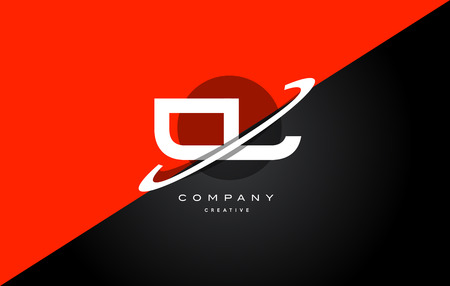 cl c l  red black white technology swoosh alphabet company letter logo design vector icon template