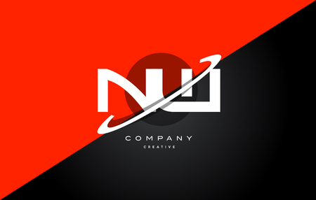Nw n w  red black white technology swoosh alphabet company letter logo design vector icon template