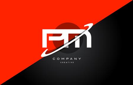 Pm p l  red black white technology swoosh alphabet company letter logo design vector icon template
