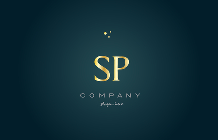 sp s p  gold golden luxury product metal metallic alphabet company letter logo design vector icon template green background