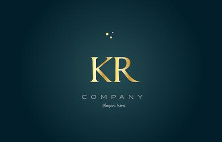 kr k r  gold golden luxury product metal metallic alphabet company letter logo design vector icon template green background