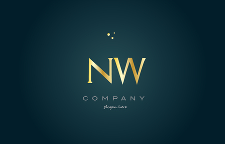 nw n w  gold golden luxury product metal metallic alphabet company letter logo design vector icon template green background