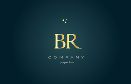 br b r  gold golden luxury product metal metallic alphabet company letter logo design vector icon template green background
