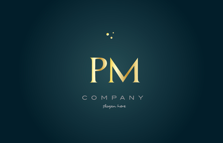 pm p l  gold golden luxury product metal metallic alphabet company letter logo design vector icon template green background