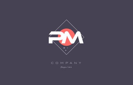 pm p l  vintage retro pink purple rhombus alphabet company letter logo design vector icon creative template background