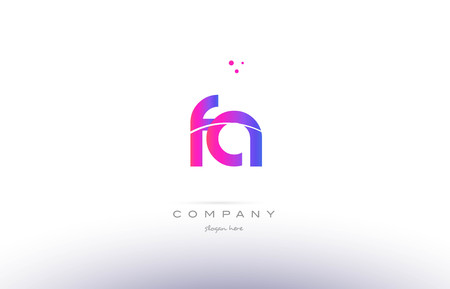 fa f a  pink purple modern creative gradient alphabet company logo design vector icon template