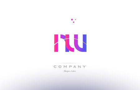 nw n w  pink purple modern creative gradient alphabet company logo design vector icon template