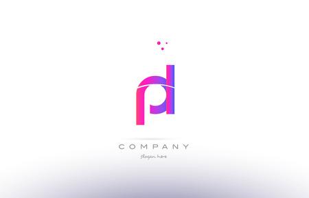 pl p l  pink purple modern creative gradient alphabet company logo design vector icon template