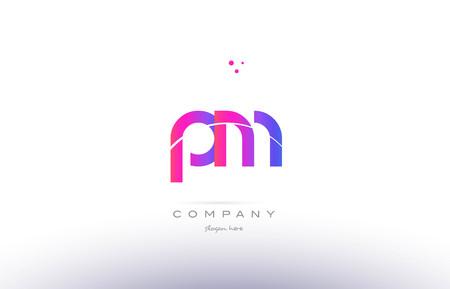 pm p l  pink purple modern creative gradient alphabet company logo design vector icon template