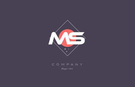 ms m s  vintage retro pink purple rhombus alphabet company letter logo design vector icon creative template background