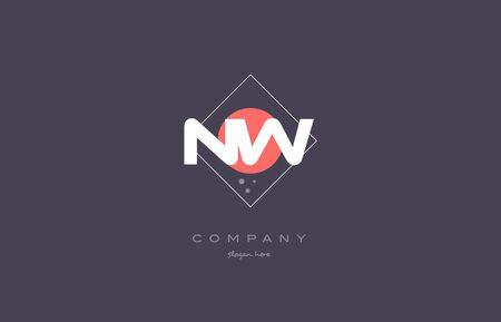 nw n w  vintage retro pink purple rhombus alphabet company letter logo design vector icon creative template background