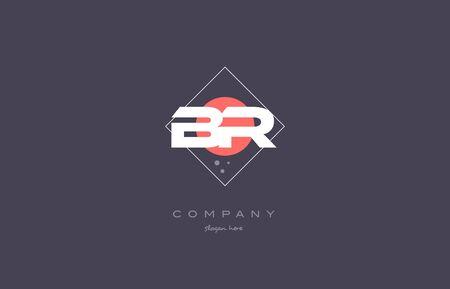 br b r  vintage retro pink purple rhombus alphabet company letter logo design vector icon creative template background