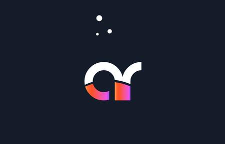 AR pink modern creative purple alphabet white blue gradient company letter logo design vector icon template.