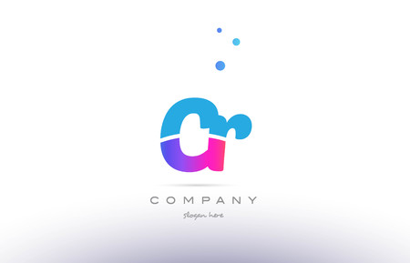 CR pink purple blue white uppercase lowercase modern creative alphabet gradient company letter logo design vector icon template.