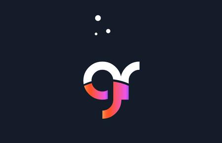 GR pink modern creative purple alphabet white blue gradient company letter logo design vector icon template.