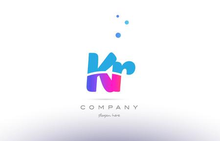KR pink purple blue white uppercase lowercase modern creative alphabet gradient company letter logo design vector icon template.