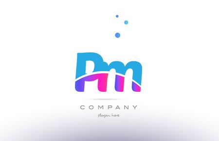PM pink purple blue white uppercase lowercase modern creative alphabet gradient company letter logo design vector icon template.