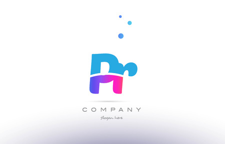 PR pink purple blue white uppercase lowercase modern creative alphabet gradient company letter logo design vector icon template.
