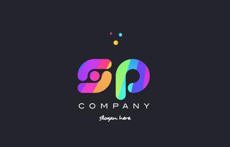 sp s p  creative rainbow green orange blue purple magenta pink artistic alphabet company letter logo design vector icon template